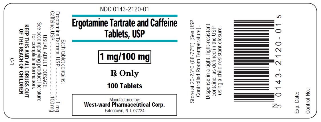 NDC 0143-2120-01 Ergotamine Tartrate and Caffeine Tablets, USP 1 mg/100 mg Rx Only 100 Tablets  West-ward Pharmaceuticals Corp.