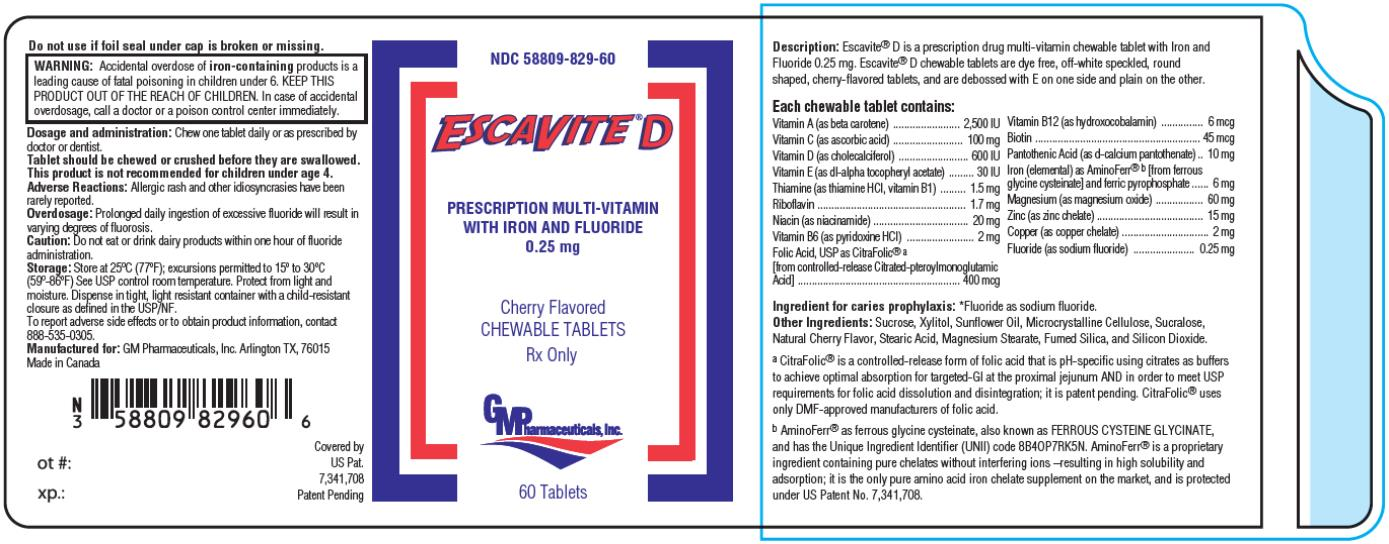 PRINCIPAL DISPLAY PANEL NDC 58809-829-60 ESCAVITE D Prescription Multi-Vitamin  With Iron and Fluoride  0.25 mg Cherry Flavored Chewable Tablets 60 Tablets Rx Only
