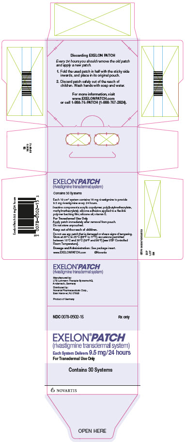 PRINCIPAL DISPLAY PANEL 								NDC 0078-0502-15 								Rx only 								EXELON® PATCH 								(rivastigmine transdermal system)  								Each System Delivers 9.5 mg/24 hours 								For Transdermal Use Only 								Contains 30 Systems 								NOVARTIS