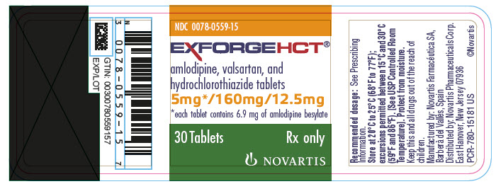 PRINCIPAL DISPLAY PANEL 								Package Label – 5 mg / 160 mg / 12.5 mg 								Rx Only		NDC 0078-0559-15 								Exforge HCT®  								(amlodipine, valsartan, hydrochlorothiazide) 								5 mg* / 160 mg / 12.5 mg 								*each tablet contains 6.9 mg of amlodipine besylate 								30 Tablets