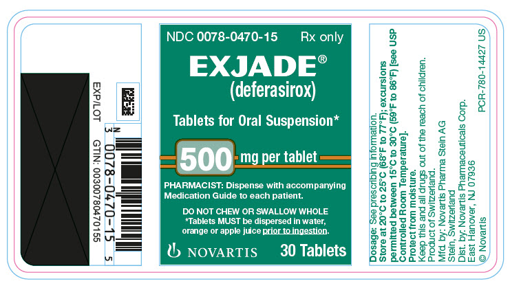 PRINCIPAL DISPLAY PANEL EXJADE ® (deferasirox) Tablets for Oral Suspension* 500 mg per tablet