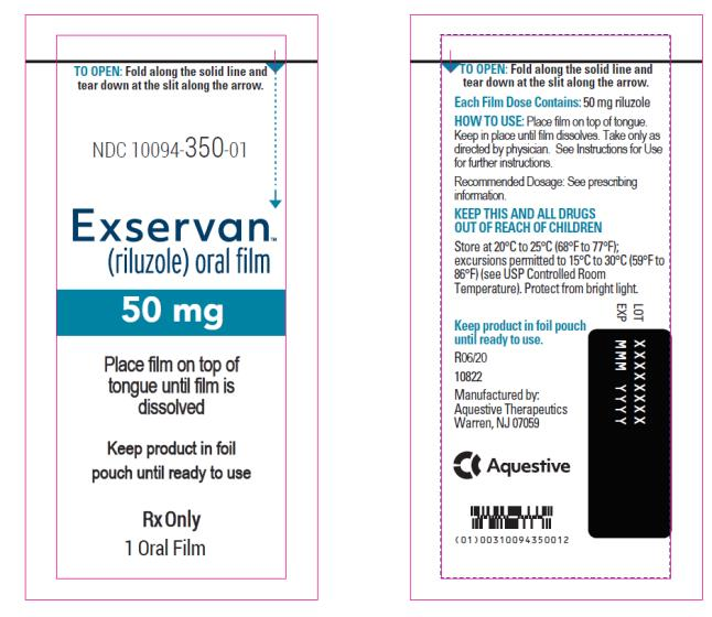 NDC 10094-350-01 Exservan (riluzole) oral film 50 mg Rx Only 1 Oral Film