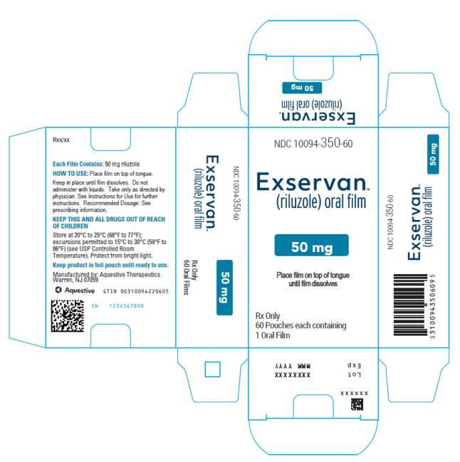 NDC 10094-350-60 Exservan (riluzole) oral film 50 mg Rx Only 60 Pouches each containing 1 Oral Film