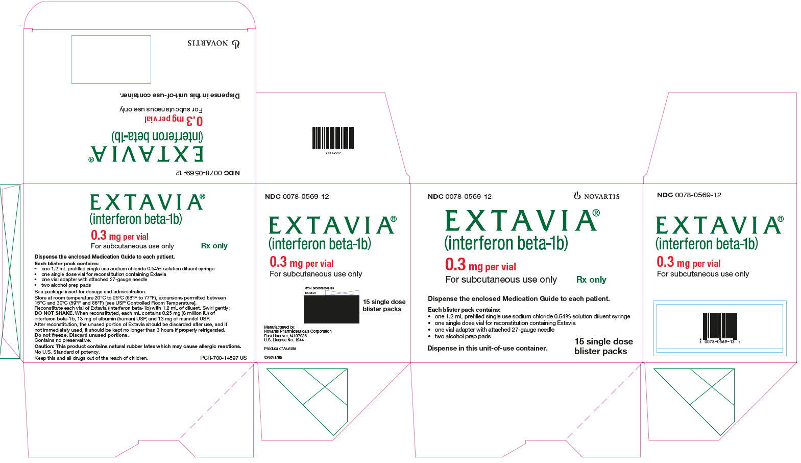 PRINCIPAL DISPLAY PANEL 									EXTAVIA 									(interferon beta-1b) 									0.3 mg per vial 									For subcutaneous use only