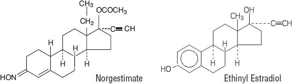 Structural Formulas for Norgestimate and Ethinyl Estradiol