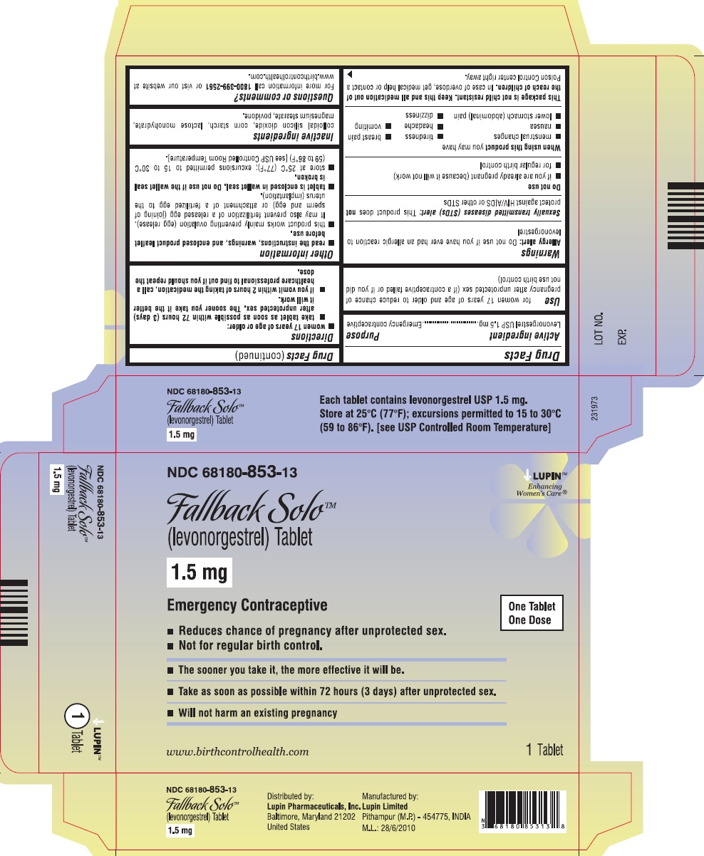 Fallback Solo (levonorgestrel) Tablet, 1.5 mg NDC 68180-853-13 							Carton Label: 1 Tablet