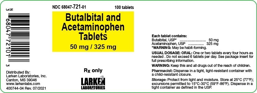Butalbital and Acetaminophen 50 mg 325 mg label