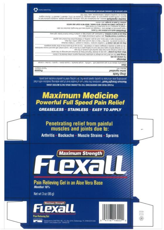 PRINCIPAL DISPLAY PANEL Maximum Strength Flexall®  Pain Relieving Gel In An Aloe Vera Base Menthol 16% Net wt 3 oz (85 g)