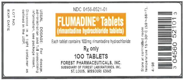 PRINCIPAL DISPLAY PANEL NDC 0456-0521-01 Flumadine Tablets (rimantadine hydrochloride tablets) Rx Only 100 Tablets