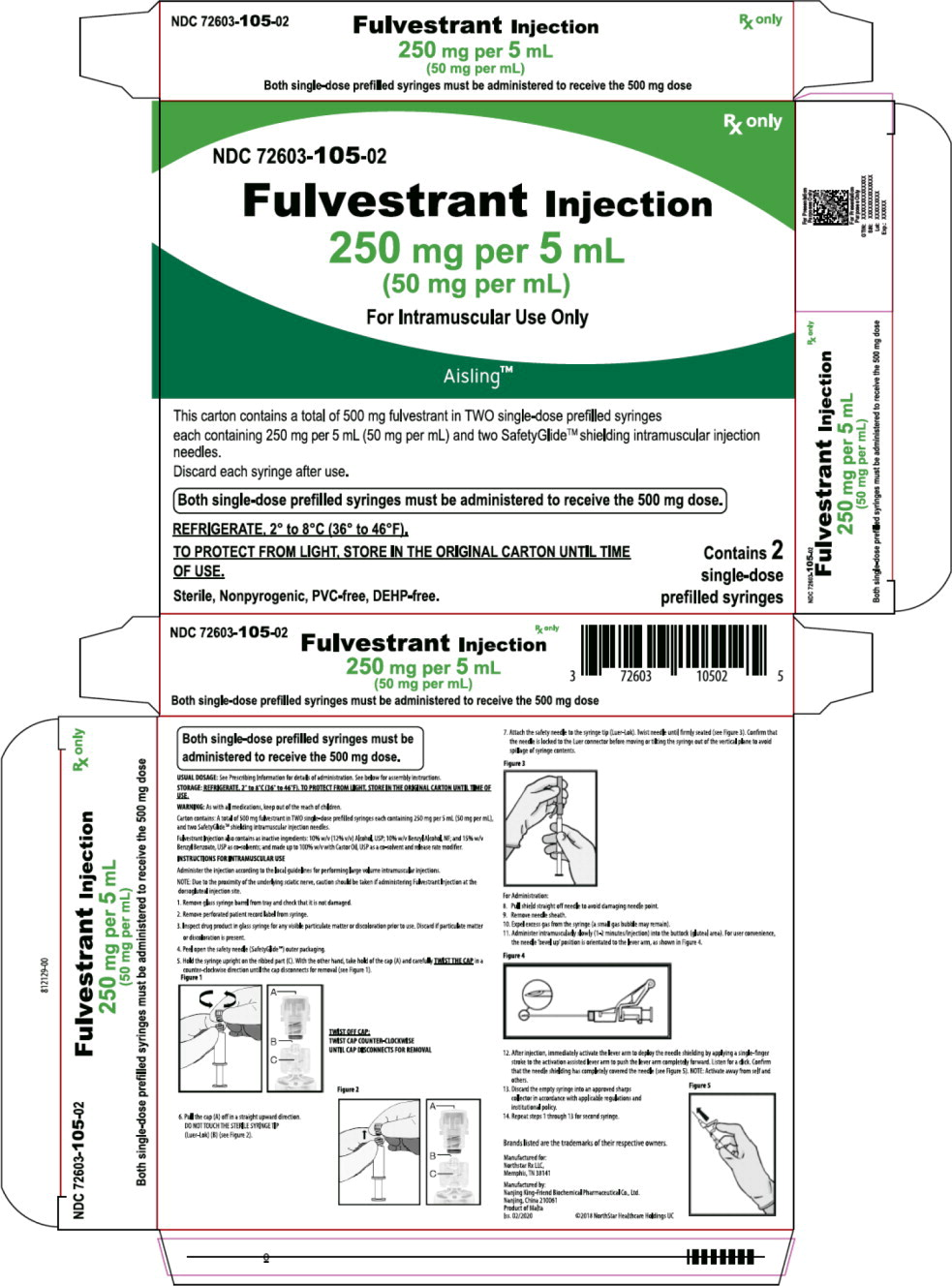 Principal Display Panel – Fulvestrant Injection, 250 mg per 5 mL (50 mg per mL) Carton