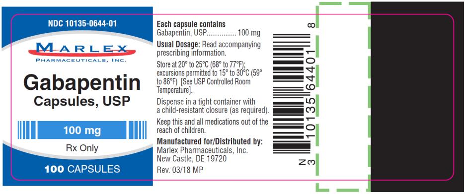 PRINCIPAL DISPLAY PANEL NDC 10135-0644-01 Gabapentin Capsules, USP 100 mg 100 Capsules  Rx Only