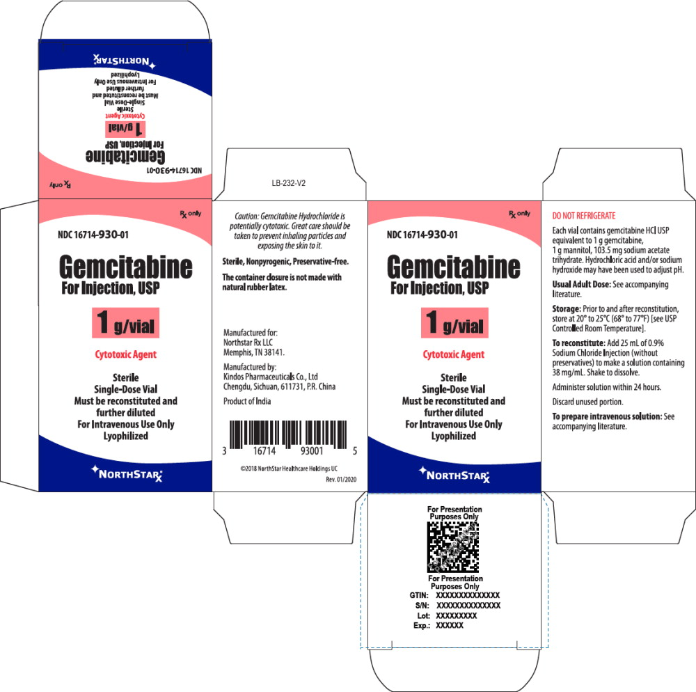Principal Display Panel – Gemcitabine For Injection, USP 1 g Carton
