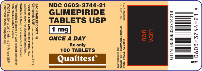 Image of the label for Glimepiride Tablets USP 1 mg 100 count.
