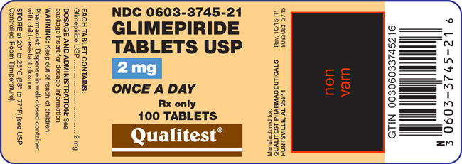 Image of the label for Glimepiride Tablets USP 2 mg 100 count.