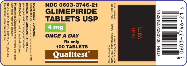 Image of the label for Glimepiride Tablets USP 4 mg 100 count.