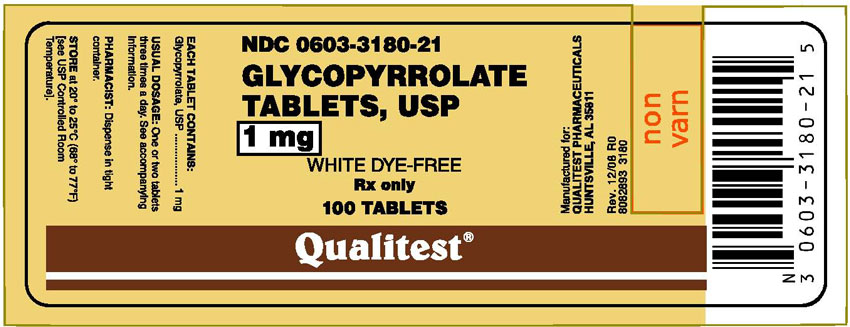 This is an image of the Principal Display Panel for Glycopyrrolate 1 mg 100 Tablets.