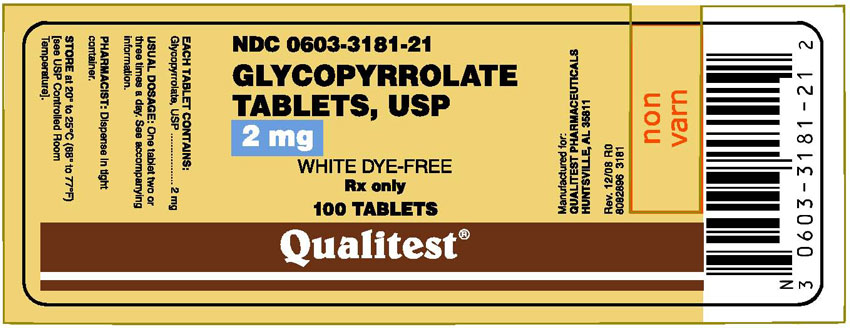 This is an image of the Principal Display Panel for Glycopyrrolate 2 mg 100 Tablets.