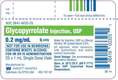 Glycopyrrolate Injection, USP 0.2 mg/mL 25 x 1 mL Single Dose Vials