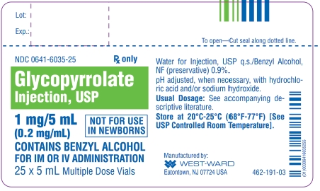 Glycopyrrolate Injection, USP 1 mg/5 mL (0.2 mg/mL) 25 x 5 mL Multiple Dose Vials