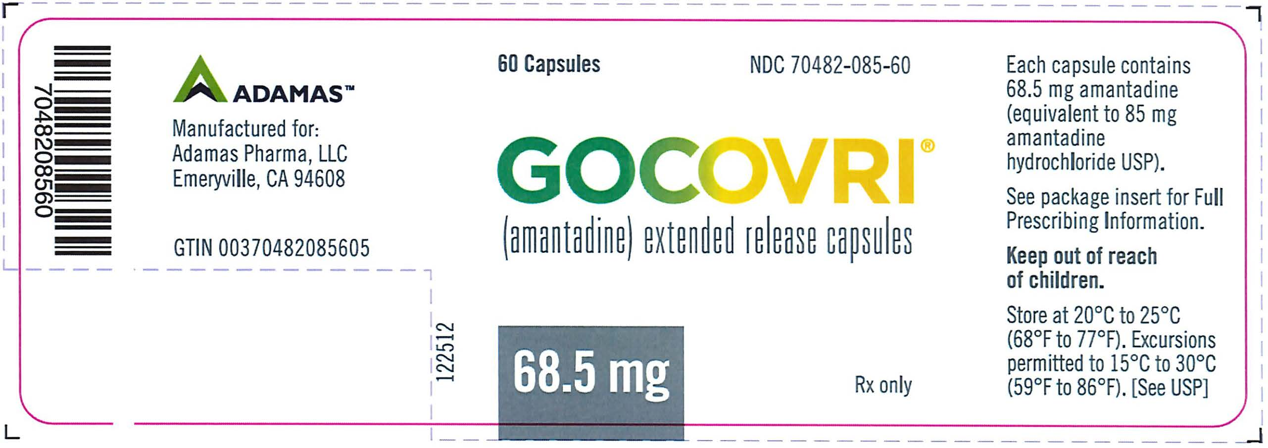 Rx Item-Gocovri- Amantadine Capsule, Coated Pellets 68.5Mg 60 Capsules By Adamis