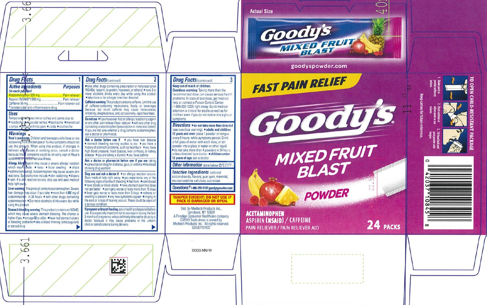 PRINCIPAL DISPLAY PANEL Goody's Mixed Fruit Blast Acetaminophen Aspirin (NSAID)/ Caffeine 24 sealed powder packs