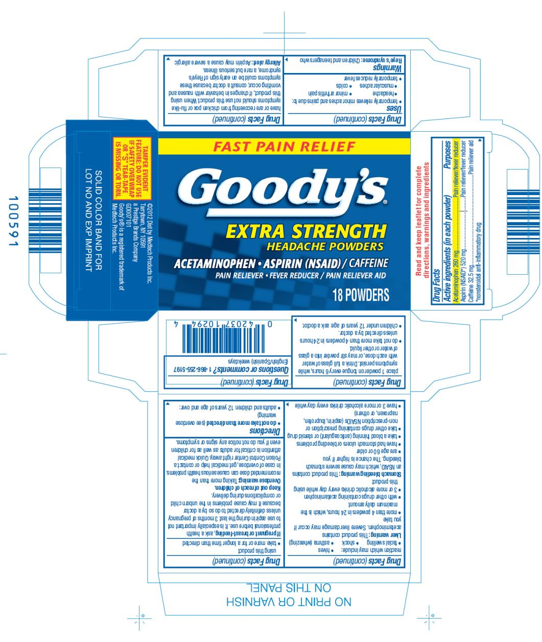 FAST PAIN RELIEF Goody's® EXTRA STRENGTH HEADACHE POWDERS ACETAMINOPHEN • ASPIRIN (NSAID) / CAFFEINE PAIN RELIEVER / PAIN RELIEVER AID 18 Powders