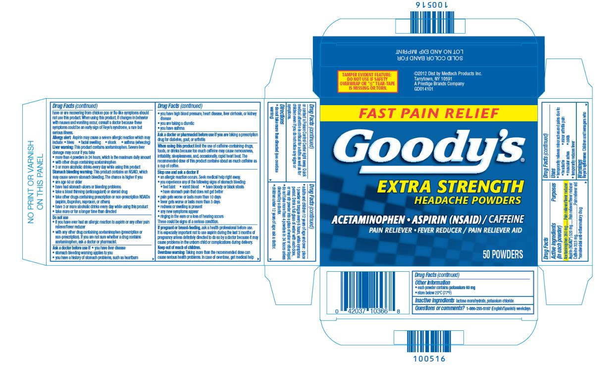 FAST PAIN RELIEF Goody's® EXTRA STRENGTH HEADACHE POWDERS ACETAMINOPHEN • ASPIRIN (NSAID) / CAFFEINE PAIN RELIEVER / PAIN RELIEVER AID 50 Powders