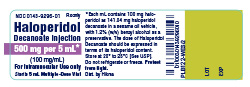 Haloperidol Decanoate Injection 500 mg per 5 mL container label