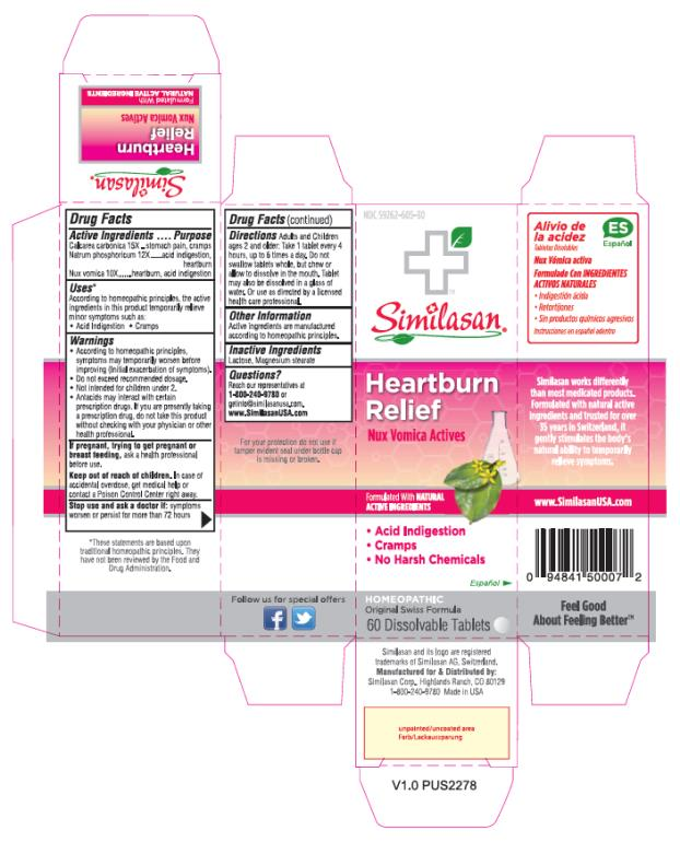 PRINCIPAL DISPLAY PANEL NDC 59262-605-30 Similasan Heartburn Relief Nux Vomica Actives 60 Dissolvable Tablets