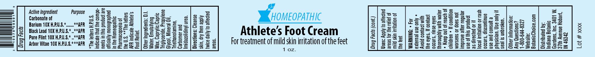 Homeopathic Athletes Foot   Carbonate Of Barium, Black Lead, Pure Flint, Arbor Vitae Cream while Breastfeeding