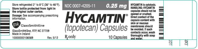 Hycamtin 0.25 mg capsule 10 count label