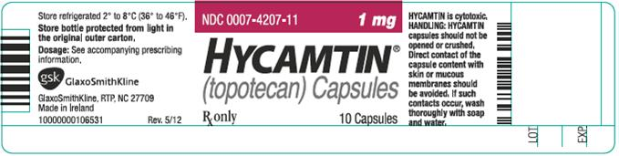 Hycamtin 1 mg capsule 10 count label