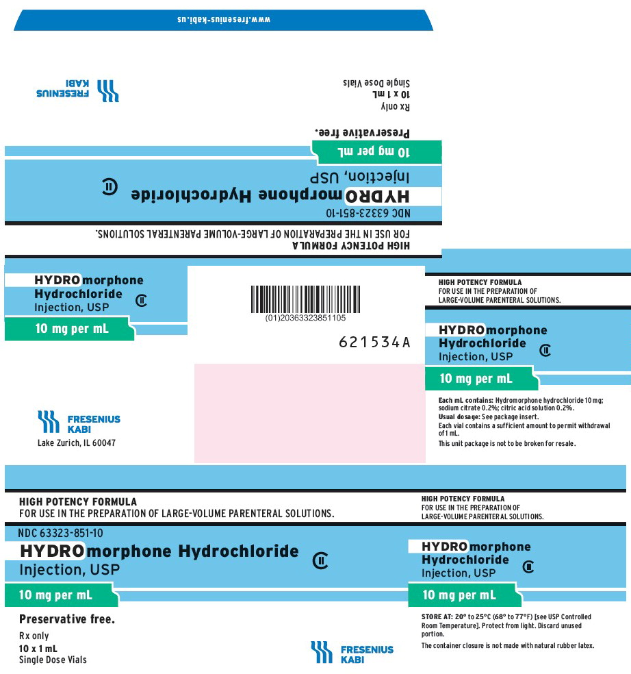 PACKAGE LABEL - PRINCIPAL DISPLAY - Hydromorphone Hydrochloride 10 mg Vial Carton Panel
