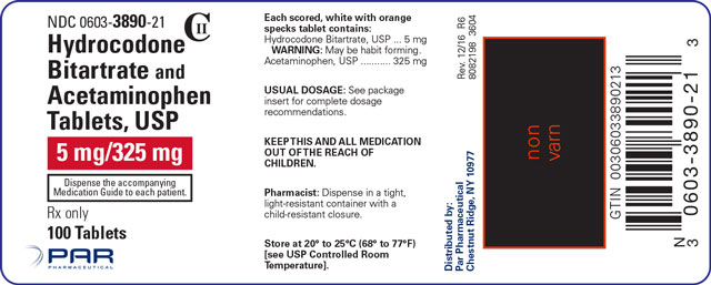 This is an image of the label for 5 mg/325 mg Hydrocodone Bitartrate and Acetaminophen Tablets.