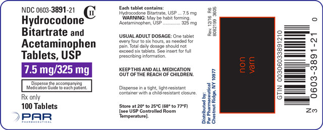 This is an image of the label for 7.5 mg/325 mg Hydrocodone Bitartrate and Acetaminophen Tablets.