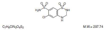 This is the structual formula for Hydrochlorothiazide.