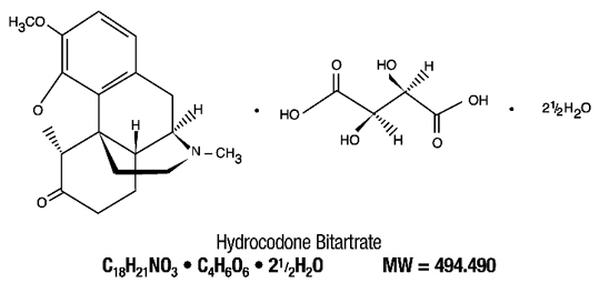 Chemical Structure of Hydrocodone Bitartrate