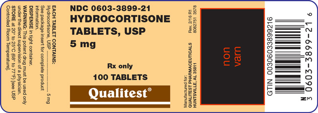 An image of the Hydrocortisone Tablets, USP 5 mg 100 count label.