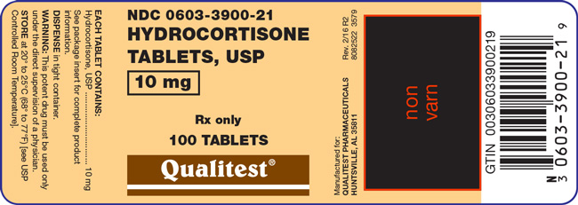 An image of the Hydrocortisone Tablets, USP 10 mg 100 count label.