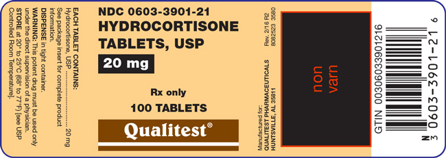 An image of the Hydrocortisone Tablets, USP 20 mg 100 count label.