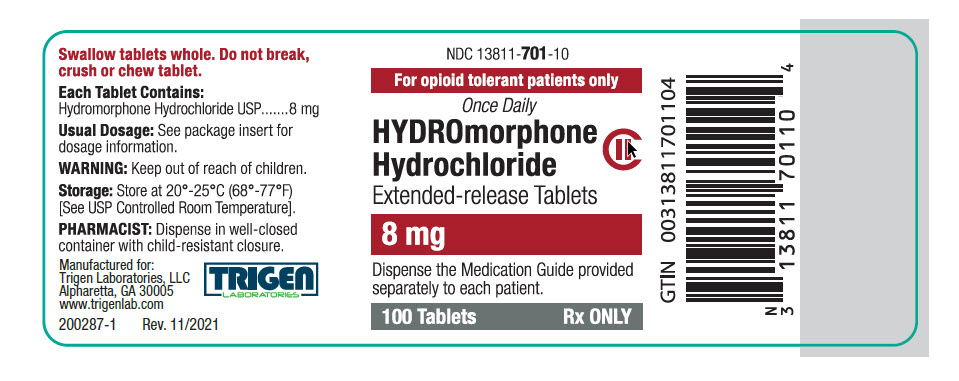 Hydromorphone HCl Extended-release Tablets 8 mg Bottle Label