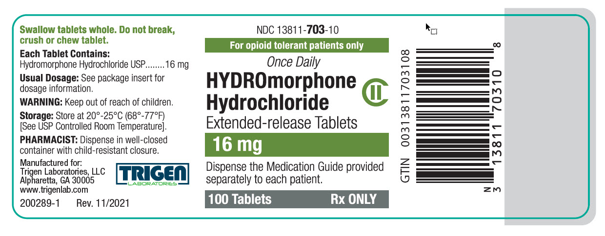 Hydromorphone HCl Extended-release Tablets 16 mg Bottle Label