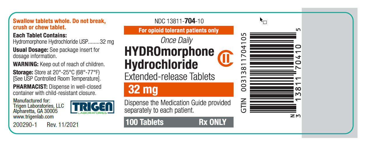 Hydromorphone HCl Extended-release Tablets 32 mg Bottle Label