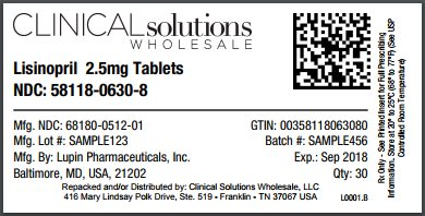 Lisinopril 2.5mg tablet 30 count blister card
