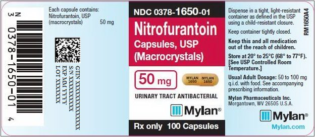 Nitrofurantoin Capsules, USP (Macrocrystals) 50 mg Bottle Label