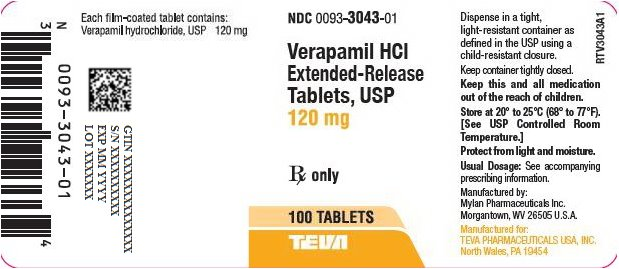 Verapamil HCl Extended-Release Tablets, USP 120 mg Bottle Label