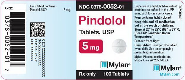 Pindolol Tablets 5 mg Bottle Label