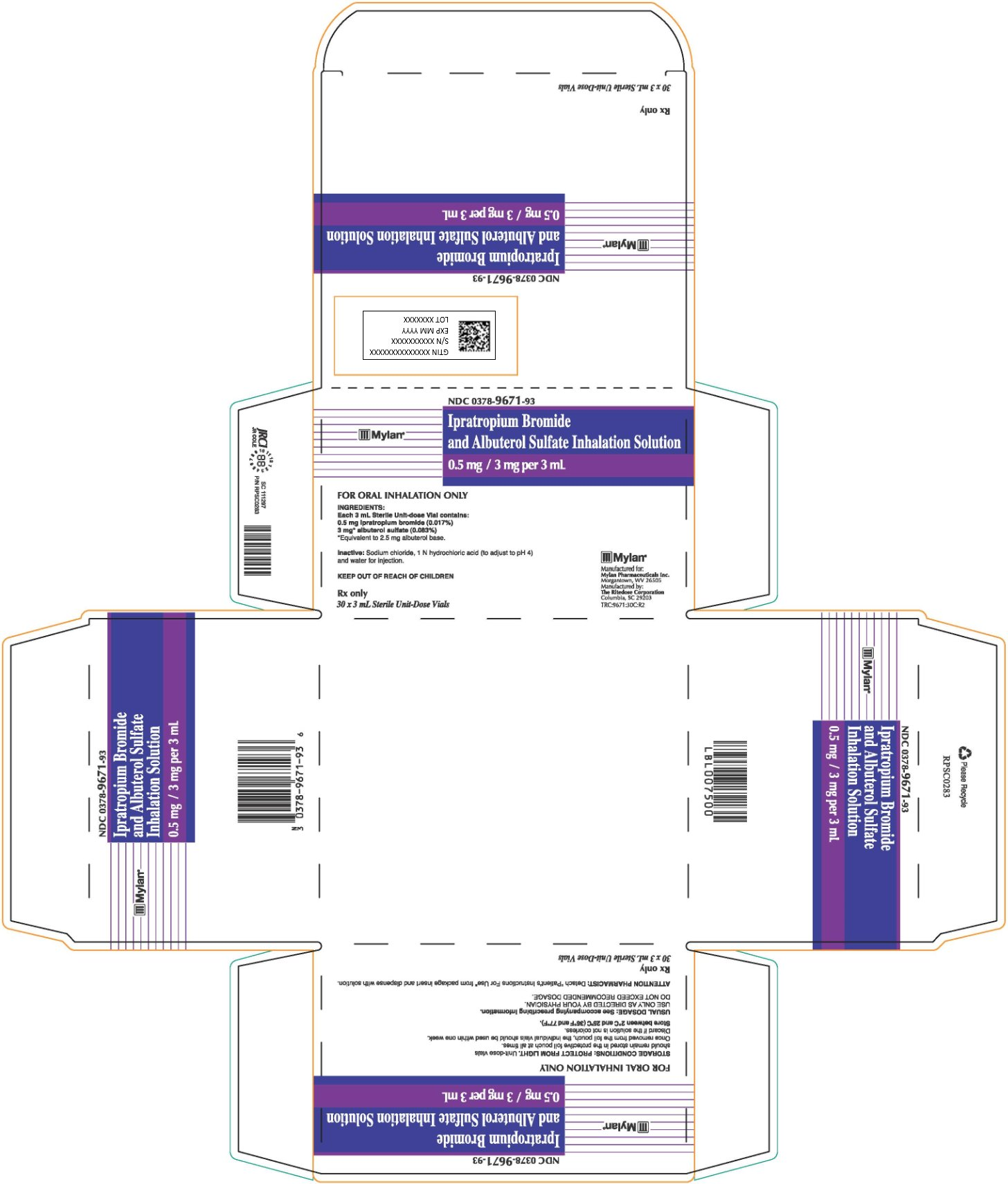 Ipratropium Bromide and Albuterol Sulfate Inhalation Solution Carton Label