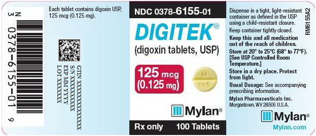 Digitek Tablets 125 mg Bottle Label