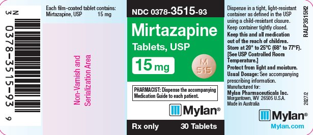 Mirtazapine Tablets 15 mg Bottle Label